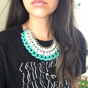 Collar statement necklace - Silver and Blue